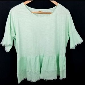 3/$25 True Craft large green fringed blouse